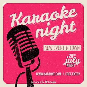 Banner de festa de noite de karaoke ou modelo de folheto