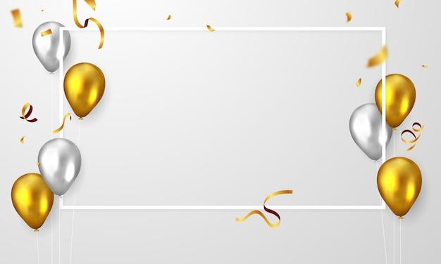 Banner de festa de quadro de celebração com balões de ouro.