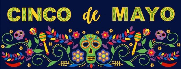 Banner de festa e cartaz com bandeiras, flores, decorações e maracas texto feliz cinco de mayo.