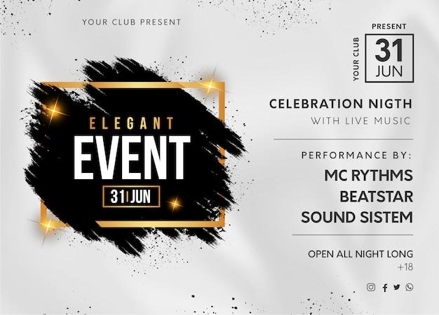Banner de festa evento elegante com esguicho preto