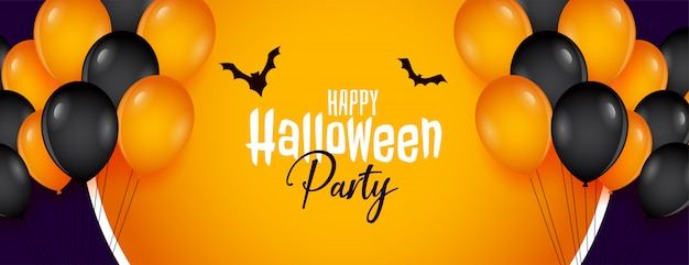 Banner de festa feliz dia das bruxas com decoração de balões