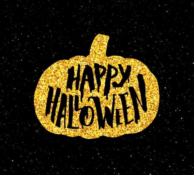 Banner de festa feliz dia das bruxas com tipografia ouro