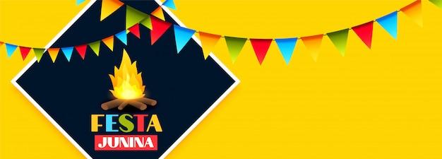 Banner de festa festa junina celebração com decoração guirlanda