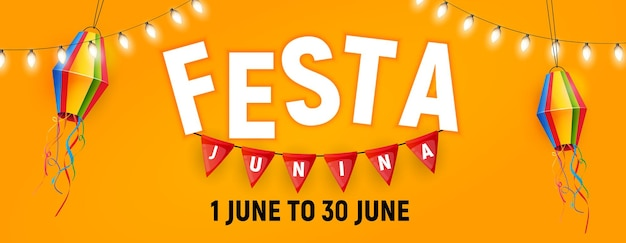 Banner de festa junina com lanterna de bandeiras de festa