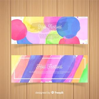 Banner de festival de aquarela holi