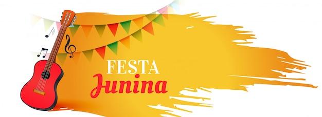 Banner de festival de música festa junina com guitarra