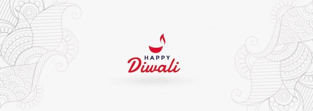 Banner de festival feliz diwali branco