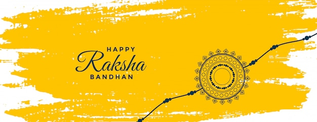 Banner de festival indiano aquarela amarela raksha bandhan