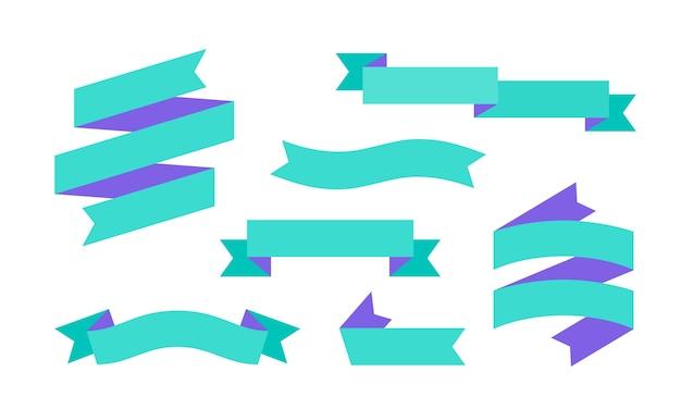 Banner de fita. conjunto de banner de fita simples para texto, frase.