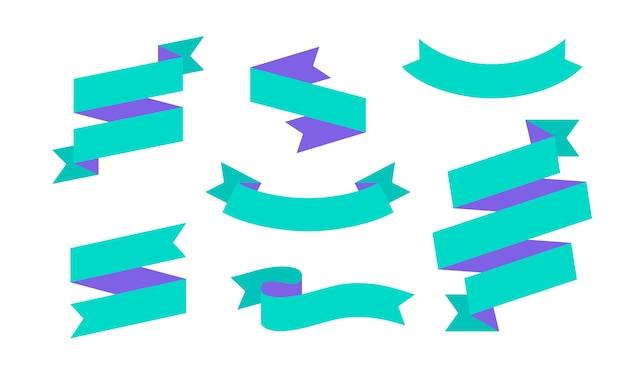 Banner de fita. conjunto de banner de fita simples para texto, frase