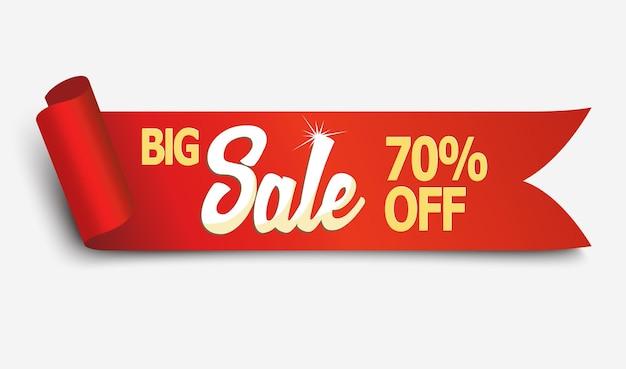 Banner de fita de venda de papel curvado realista detalhado vermelho com sombra