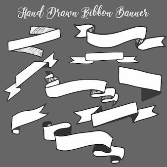 Banner de fita desenhada de mão