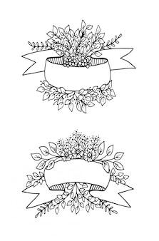 Banner de fita em branco com elementos florais