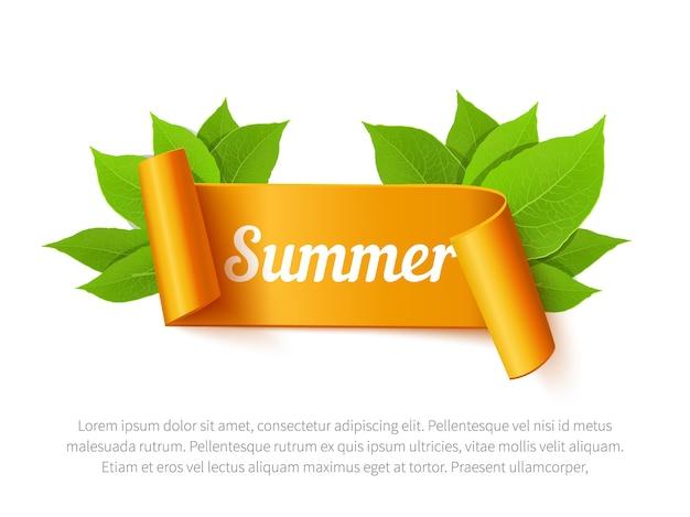 Banner de fita laranja de venda de verão e folhas isoladas no fundo branco