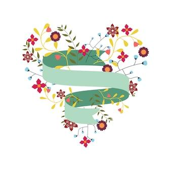 Banner de fitas florais com bela decoração de flores