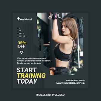 Banner de fitness academia mídia social