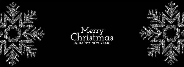 Banner de flocos de neve com brilhos de feliz natal