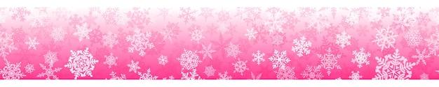 Banner de flocos de neve de natal complexos com repetição horizontal perfeita, nas cores rosa. fundo de inverno com neve caindo