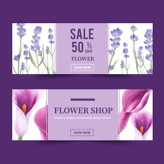 Banner de flor de inverno com lavanda, lírios
