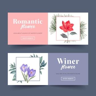 Banner de flor de inverno com lírios, açafrão, folhas de pinheiro