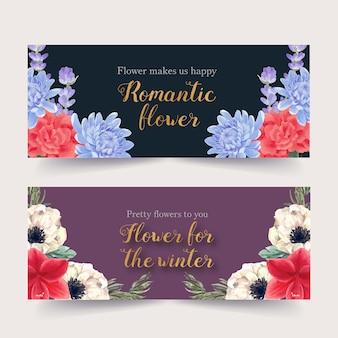Banner de flor de inverno com peônia, lavanda, lírios