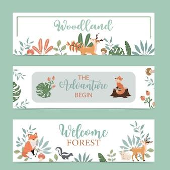 Banner de floresta fofo com animais Vetor Premium