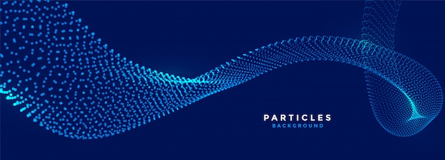 Banner de fluxo azul de partículas de tecnologia brilhando