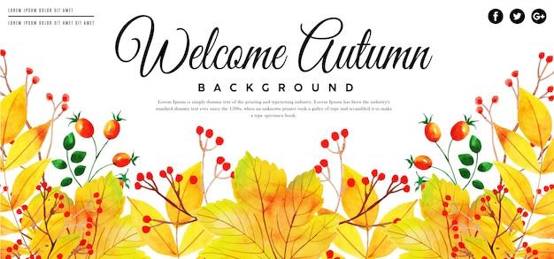 Banner de folhas de outono aquarela linda