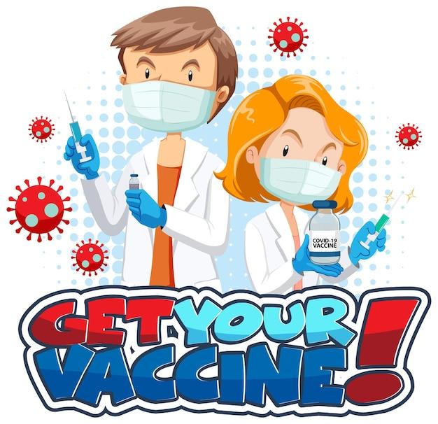 Banner de fonte get your vaccine com personagem de desenho animado médico