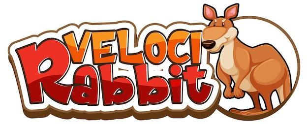 Banner de fonte velocirabbit com um personagem de desenho animado de canguru isolado