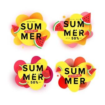 Banner de forma líquida colorida e brilhante cravejado de fatias de melancia