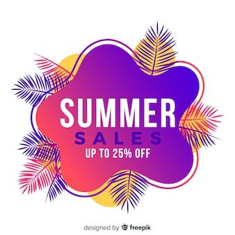 Banner de forma líquida de venda de verão