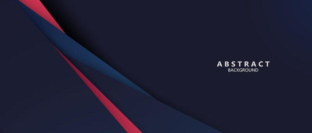 Banner de formas abstratas em vermelho azul e moderno