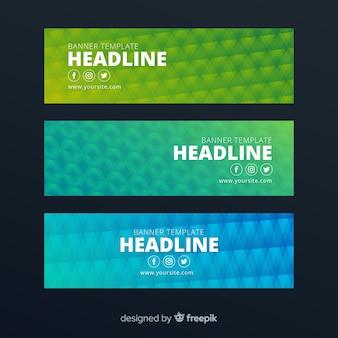 Banner de formas geométricas coloridas