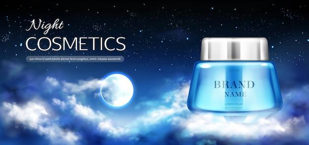 Banner de frasco de cosméticos à noite