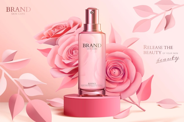 Banner de frasco de spray para cuidados com a pele com flores de papel rosa na coluna em estilo 3d