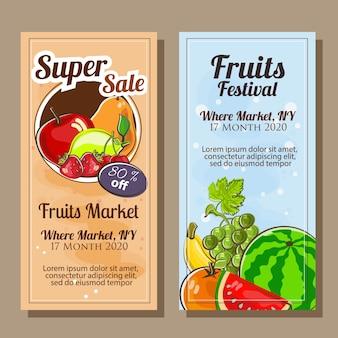 Banner de frutas em estilo doodle