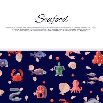 Banner de frutos do mar com caviar brilhante, peixes, caranguejos, salmão