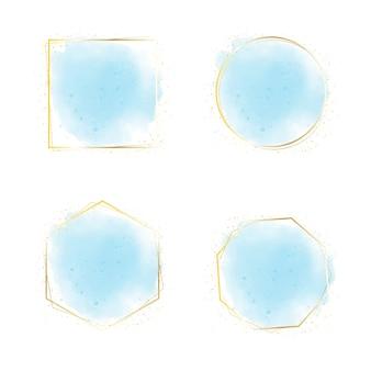Banner de fundo azul aquarela respingo com moldura dourada e coleção de glitter