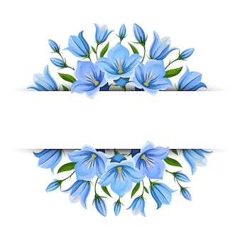 Banner de fundo com flores bluebell. ilustração.