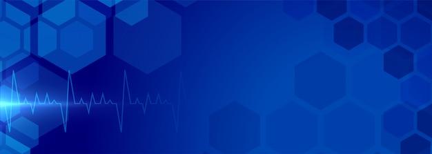 Banner de fundo de cuidados de saúde com eletrocardiograma médico