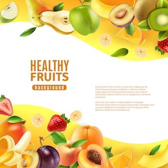 Banner de fundo de frutas saudáveis