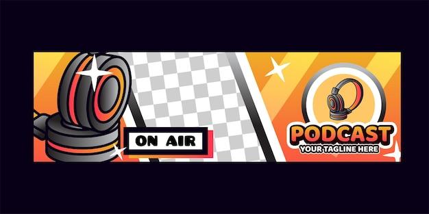 Banner de fundo de podcast com logotipos