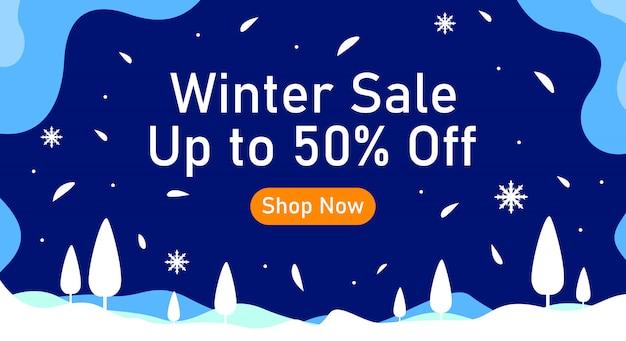 Banner de fundo de venda de inverno com queda de neve