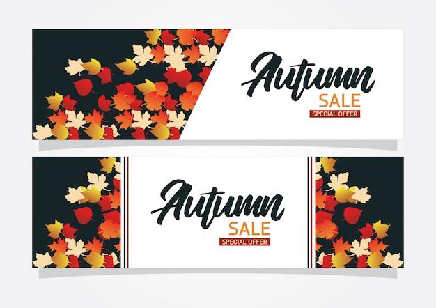 Banner de fundo de venda outono com folhas