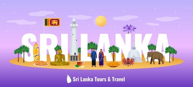 Banner de fundo gradiente horizontal com letras grandes no título do título do sri lanka com atrações turísticas comida nacional