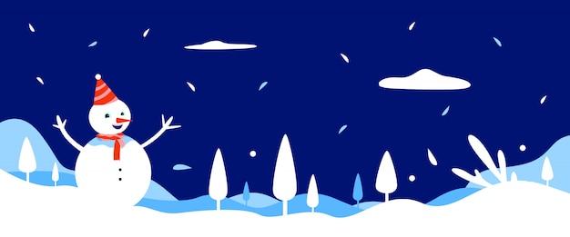 Banner de fundo inverno com boneco de neve e paisagem