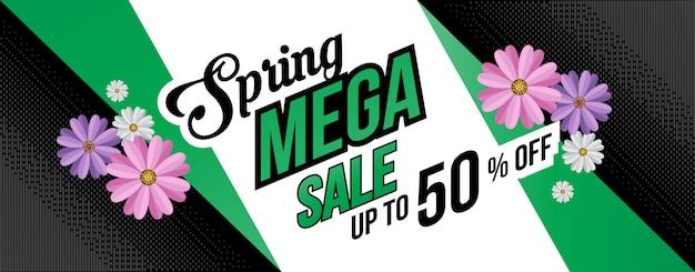 Banner de fundo plano de venda de primavera