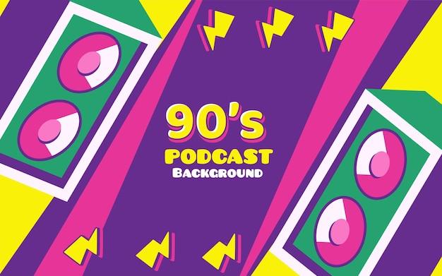 Banner de fundo vintage retrô de podcast com logotipos