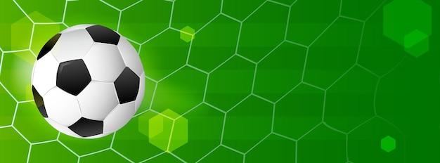 Banner de futebol. bola no fundo líquido do gol de futebol.